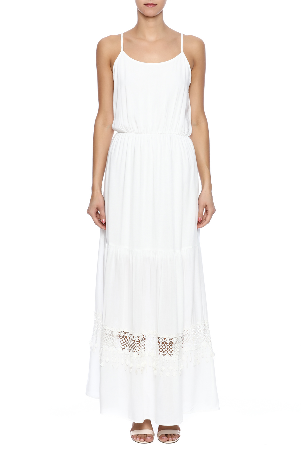 Pink Owl Ivory Maxi Dress - Front Cropped Image