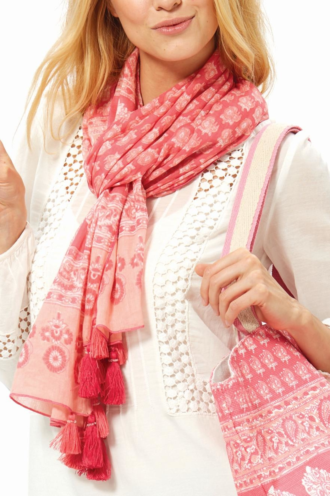 2 Chic Pink Paisly Scarf - Main Image