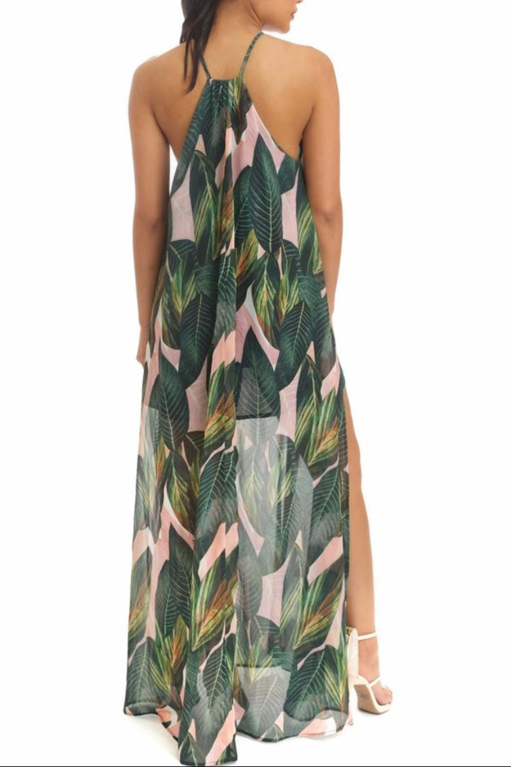 luxxel Pink Palms Maxi - Front Full Image