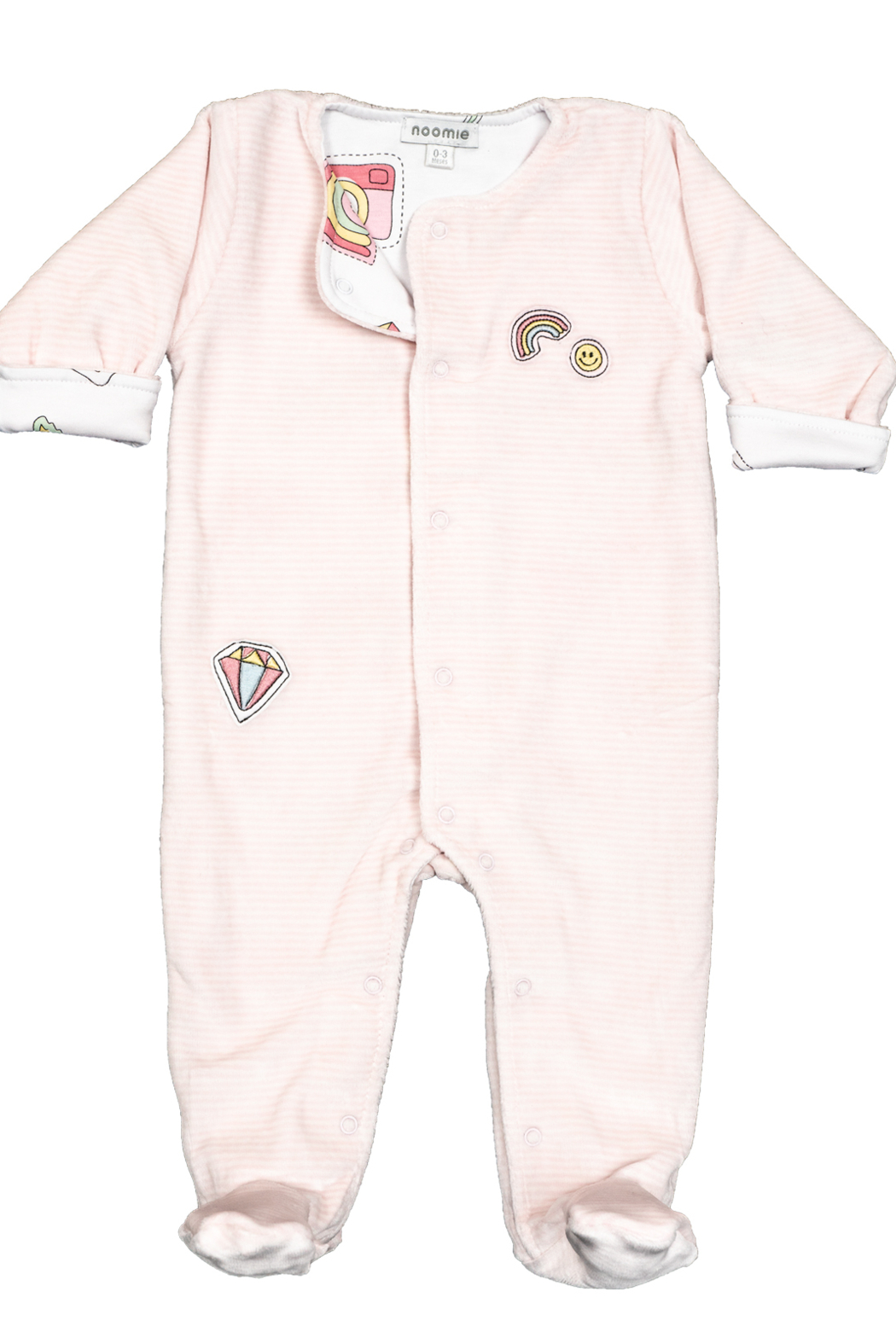 Noomie Pink Patches Velour Footie - Front Cropped Image
