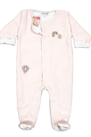 Noomie Pink Patches Velour Footie - Front cropped