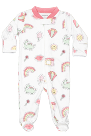 Noomie Pink Patches Zipper Footie - Front cropped