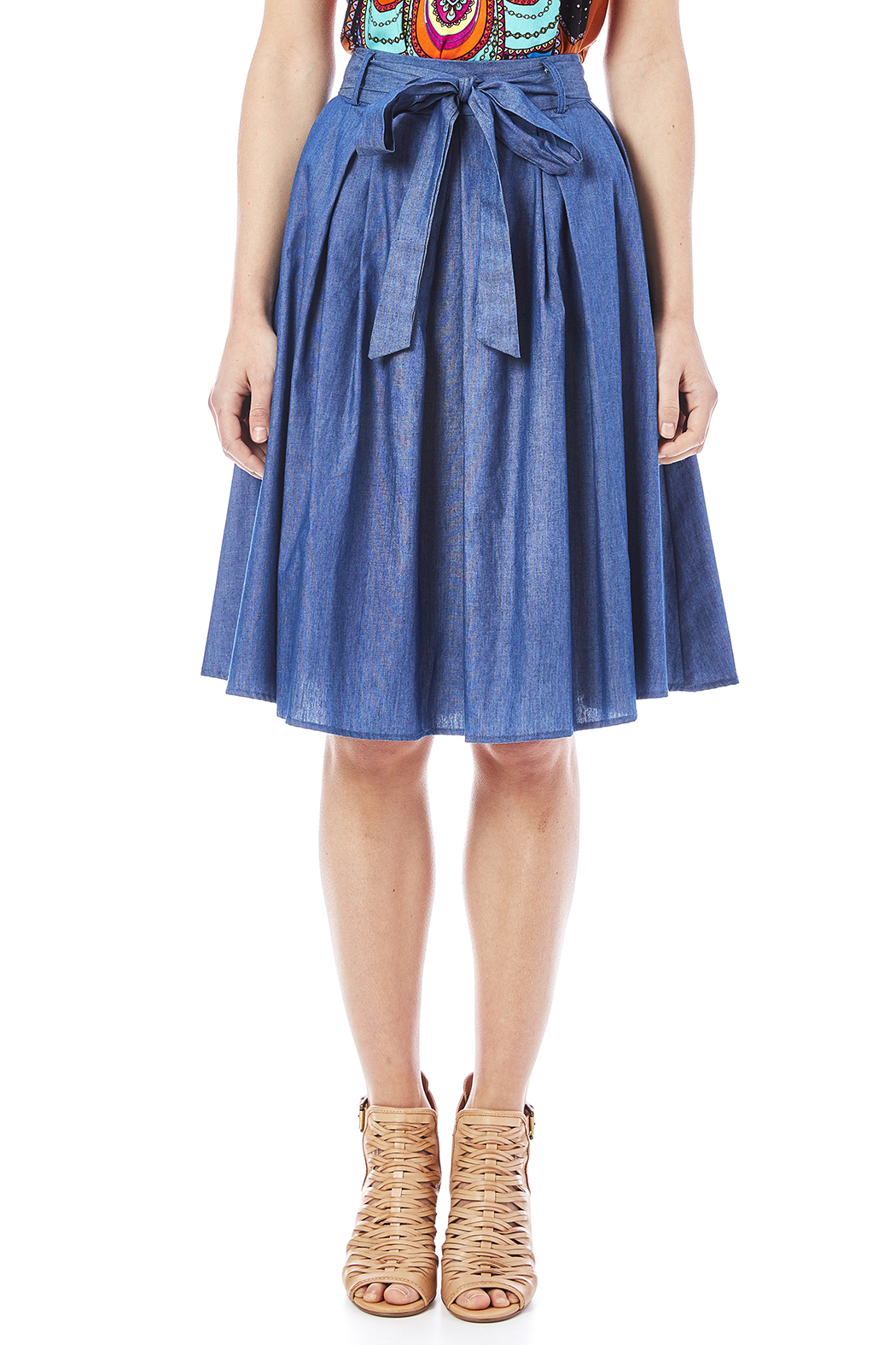 Pink Penguin Flowy Denim Skirt from West Village — Shoptiques
