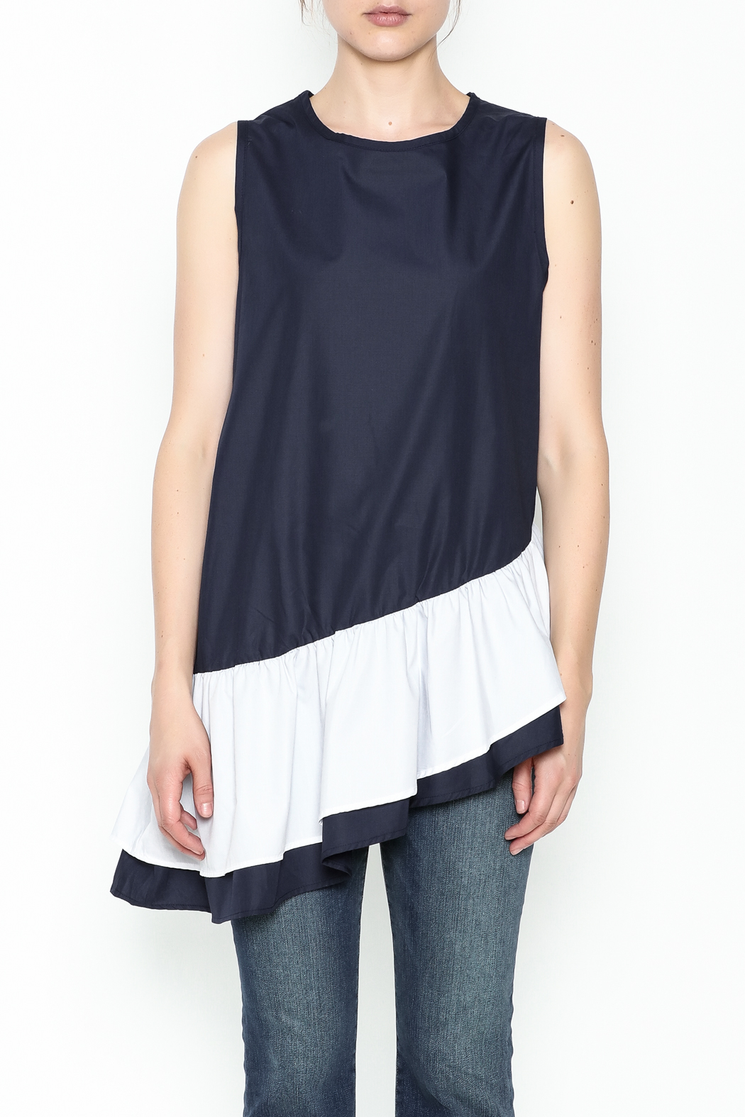 Pink Penguin Multicolor Asymmetry Top - Front Full Image