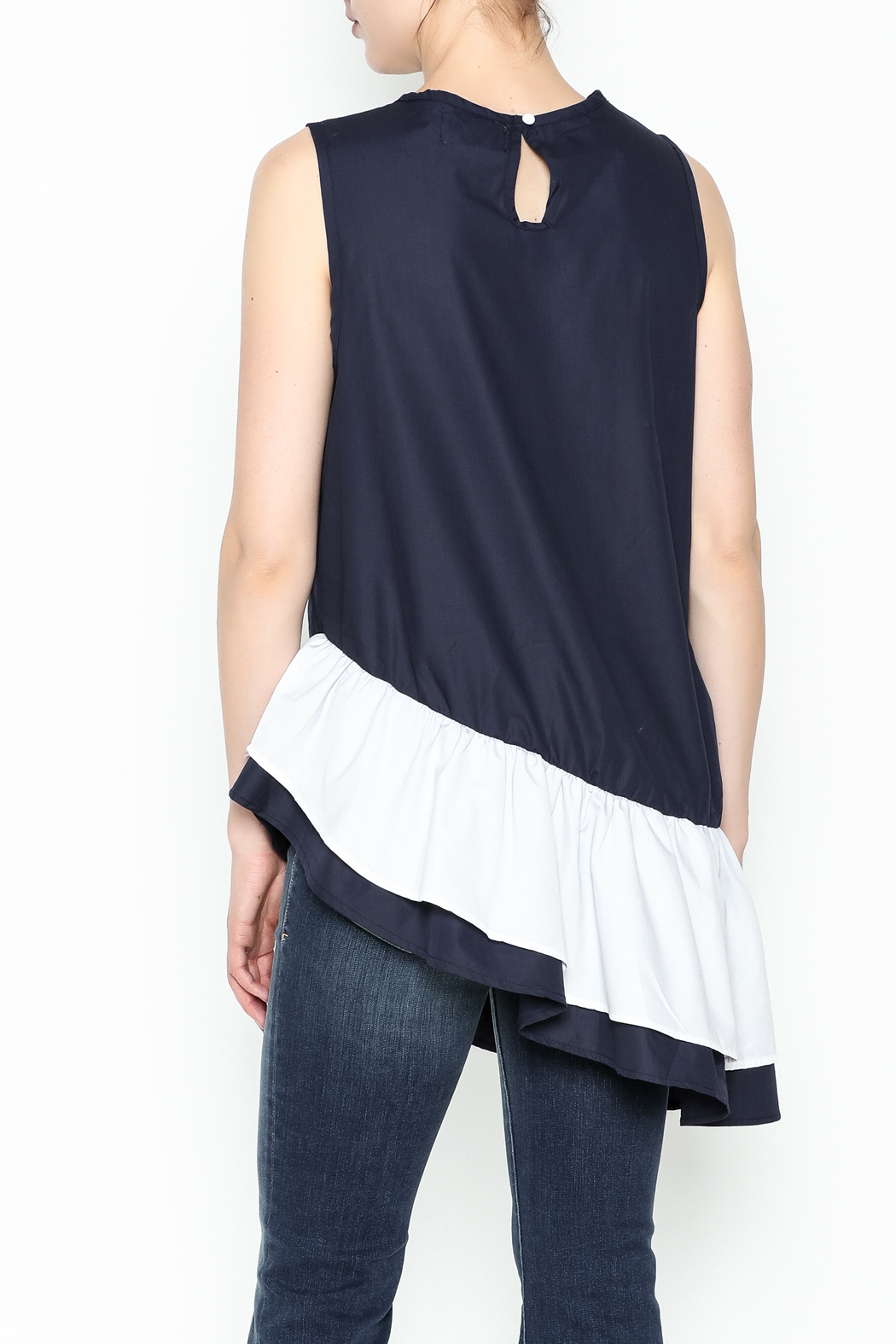 Pink Penguin Multicolor Asymmetry Top - Back Cropped Image