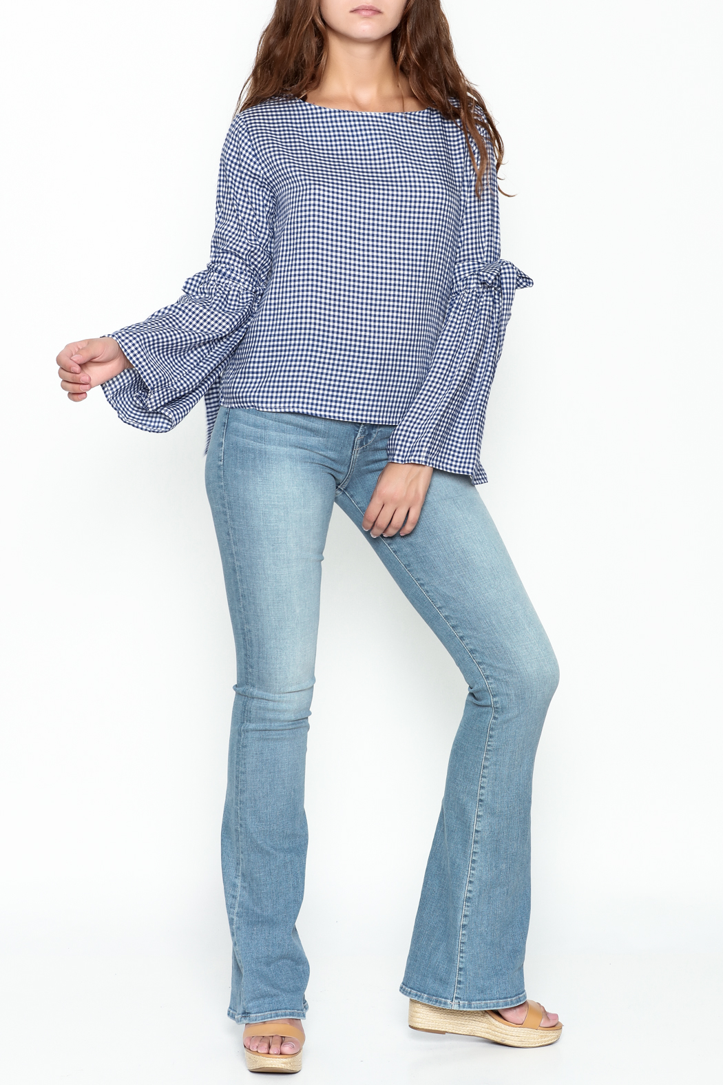 Pink Penguin Plaid Lace Sleeve Top - Side Cropped Image
