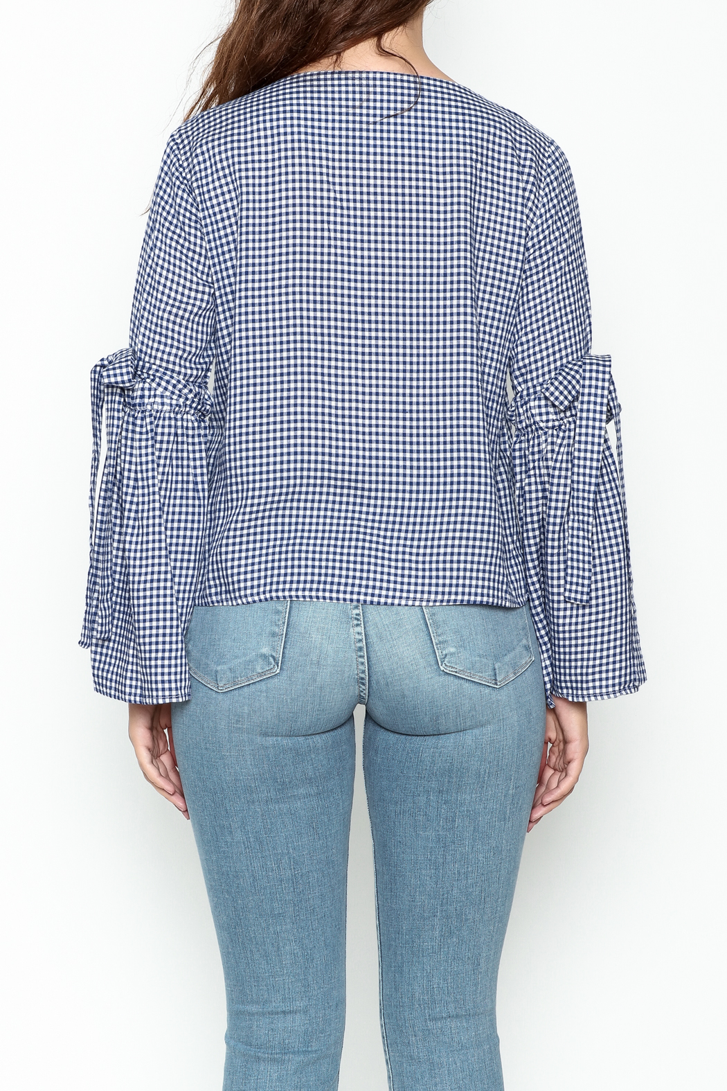Pink Penguin Plaid Lace Sleeve Top - Back Cropped Image