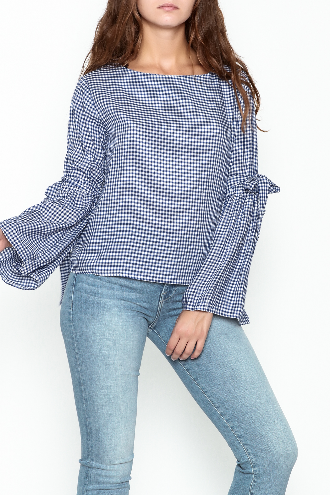 Pink Penguin Plaid Lace Sleeve Top - Main Image