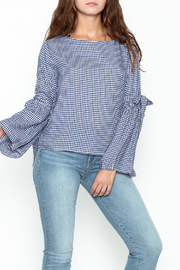 Pink Penguin Plaid Lace Sleeve Top - Front cropped