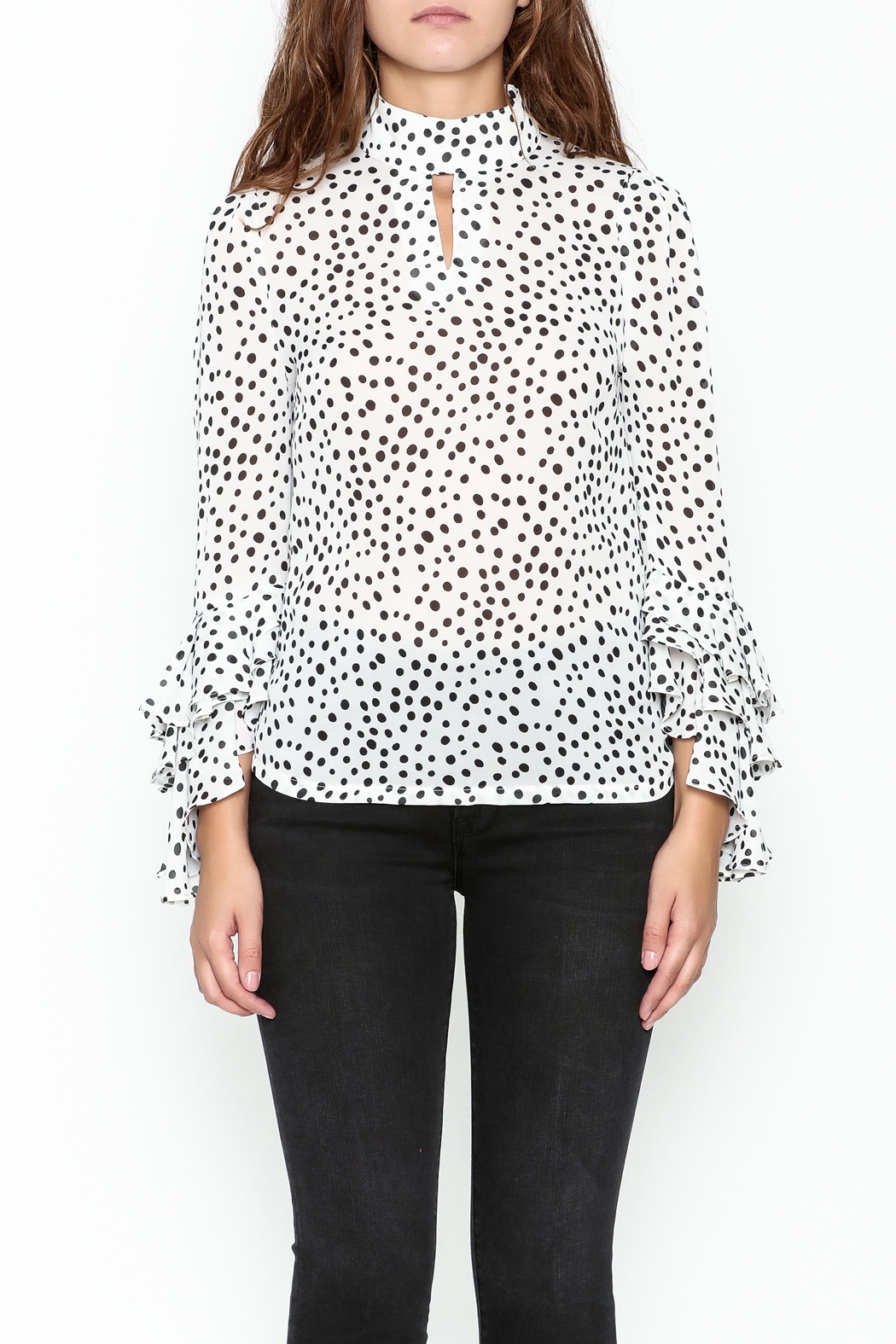 Pink Penguin Polka Dot Blouse - Front Full Image