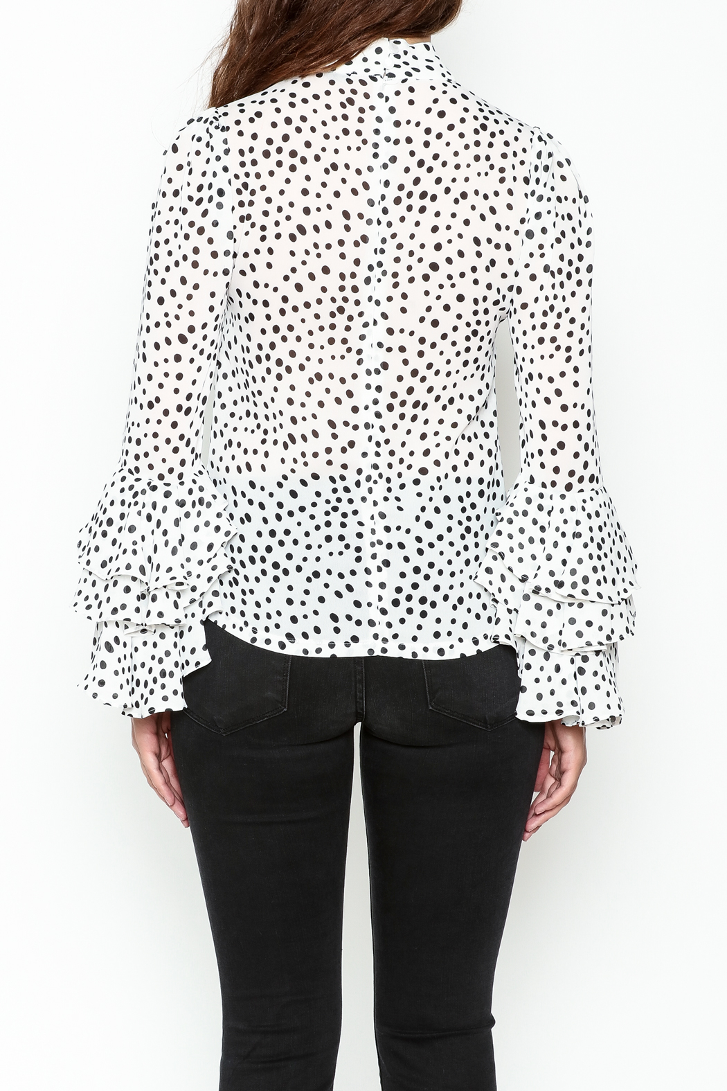 Pink Penguin Polka Dot Blouse - Back Cropped Image