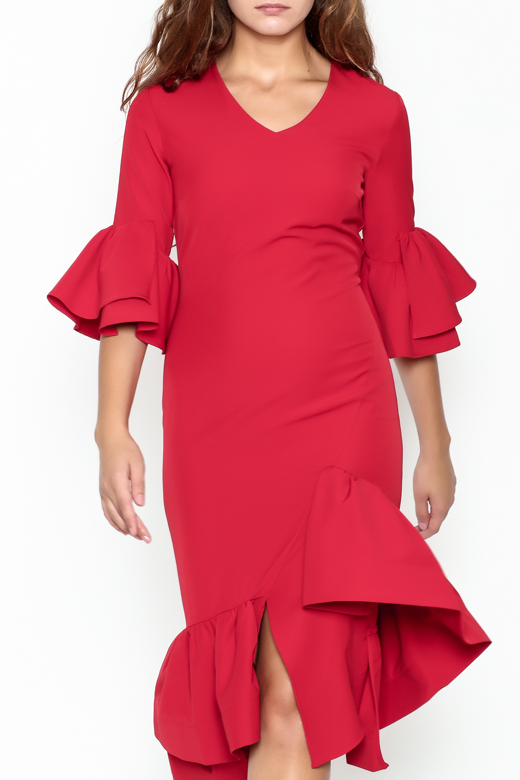 Pink Penguin Red Ruffle Dress - Front Full Image