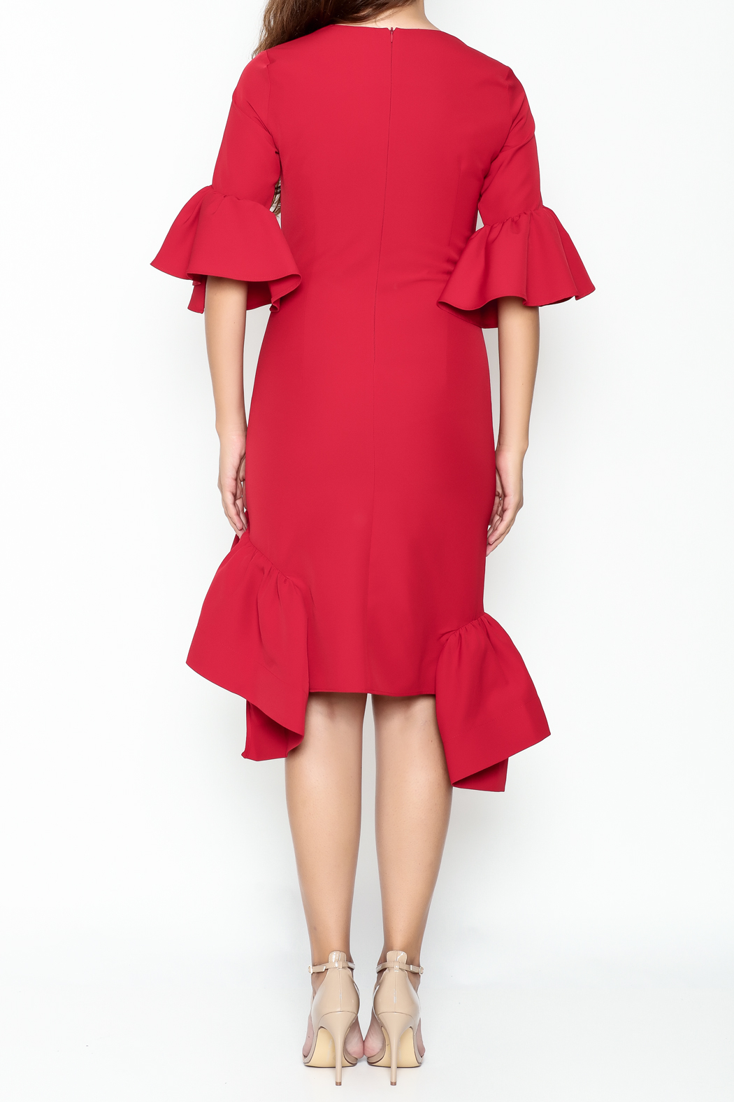 Pink Penguin Red Ruffle Dress - Back Cropped Image