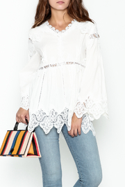 Pink Penguin White Lace Accent Top - Front cropped