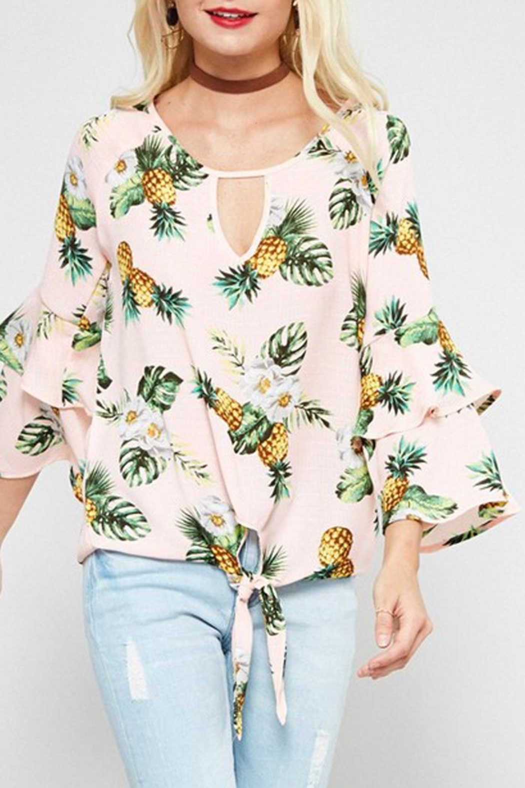 Promesa USA Pink Pineapple Top - Side Cropped Image