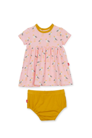 Magnetic Me Pink Plovers Dress and Diaper Cover - Front cropped