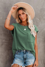 The Emerald Fox Boutique Pocketed Tee with Side Slits - Product Mini Image