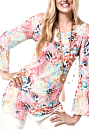 Clotheshead Pink Reef Cold Shoulder Tunic - Product Mini Image