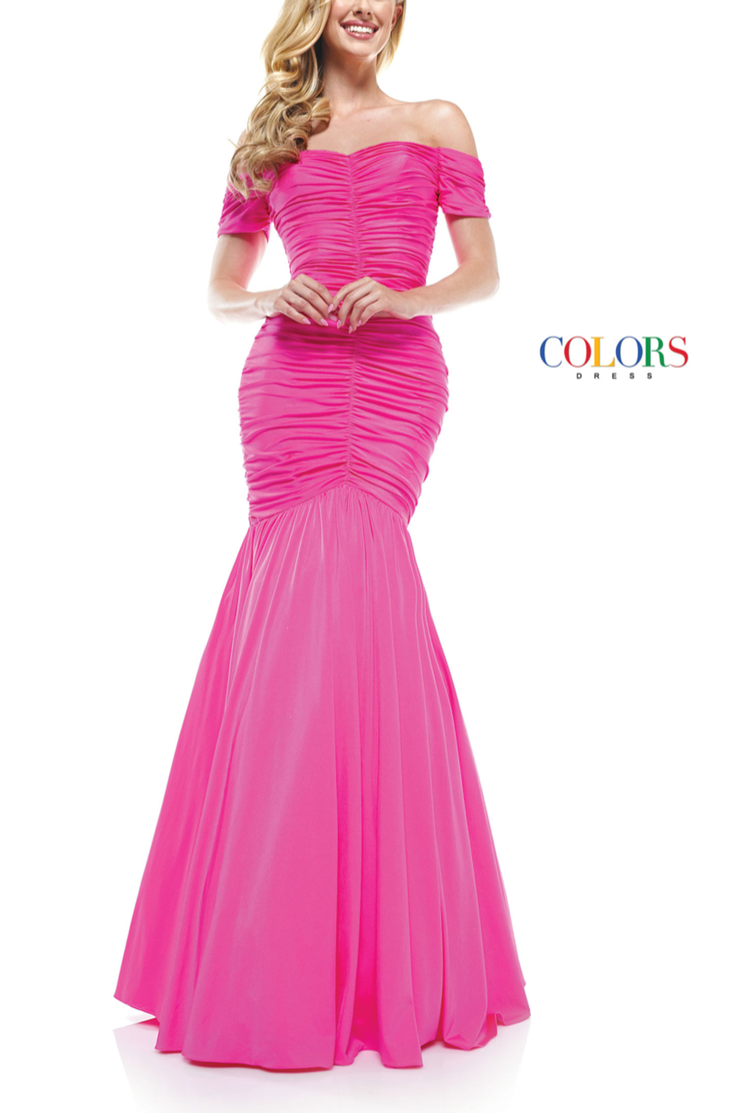 colors Pink Ruched Gown - Main Image