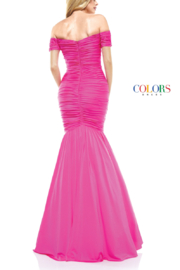 colors Pink Ruched Gown - Front full body