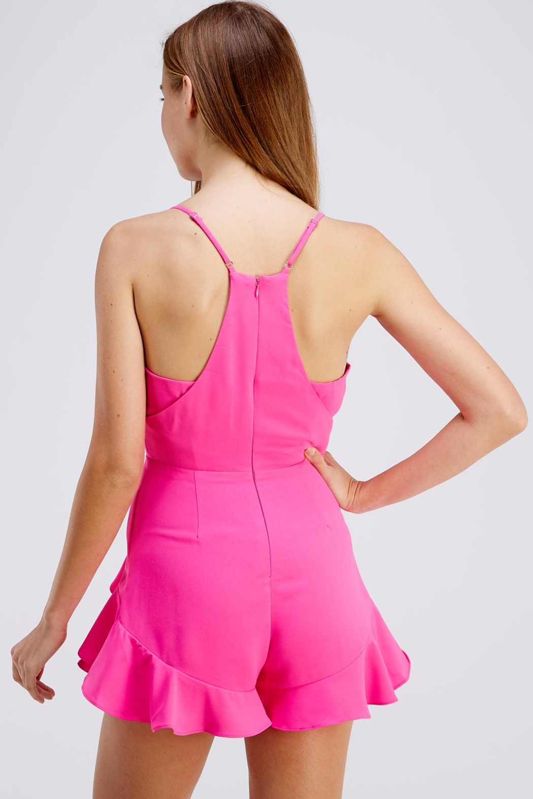Do & Be Pink Ruffle Romper - Back Cropped Image