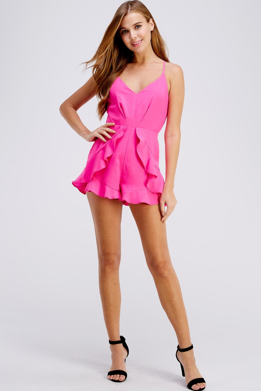 Do & Be Pink Ruffle Romper - Front Full Image