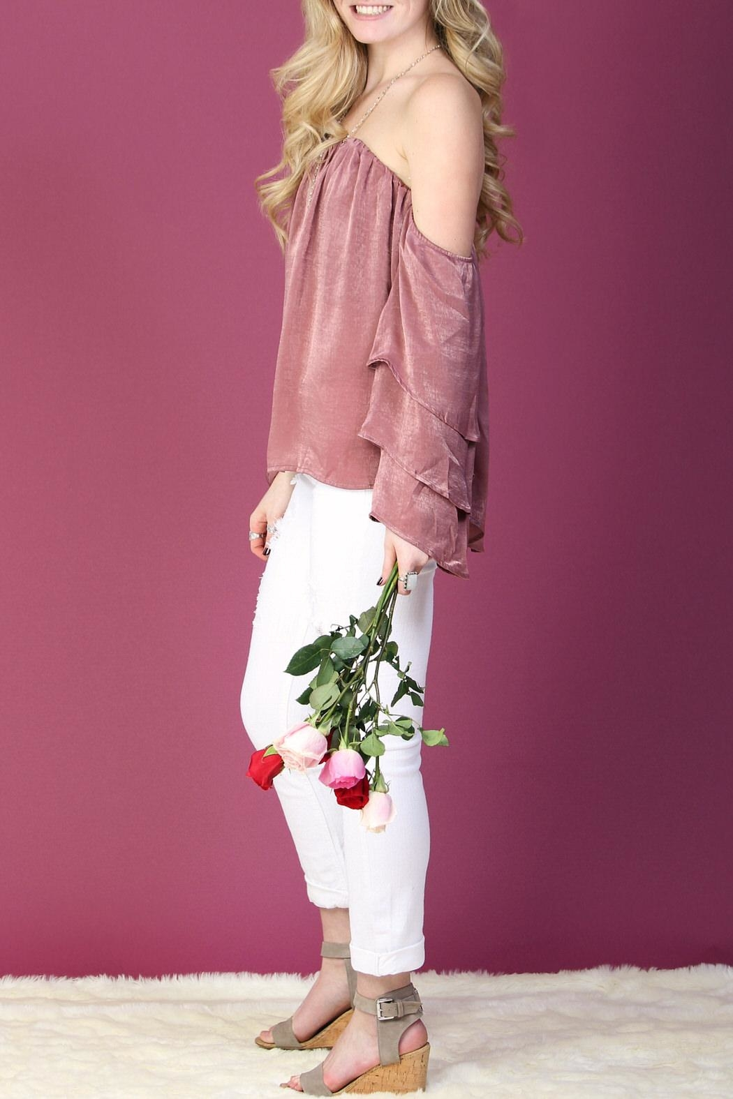LLove USA Pink Ruffle-Sleeve Top - Side Cropped Image