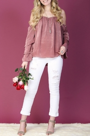 LLove USA Pink Ruffle-Sleeve Top - Product Mini Image