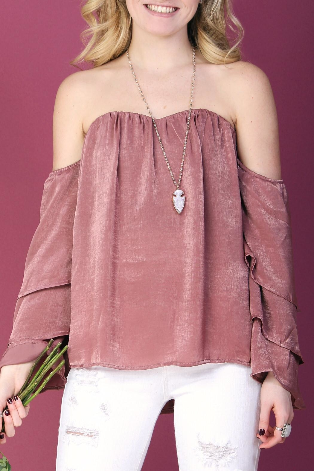 LLove USA Pink Ruffle-Sleeve Top - Front Full Image