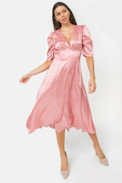 Flying Tomato  Pink Sateen Maxi Dress - Product List Image