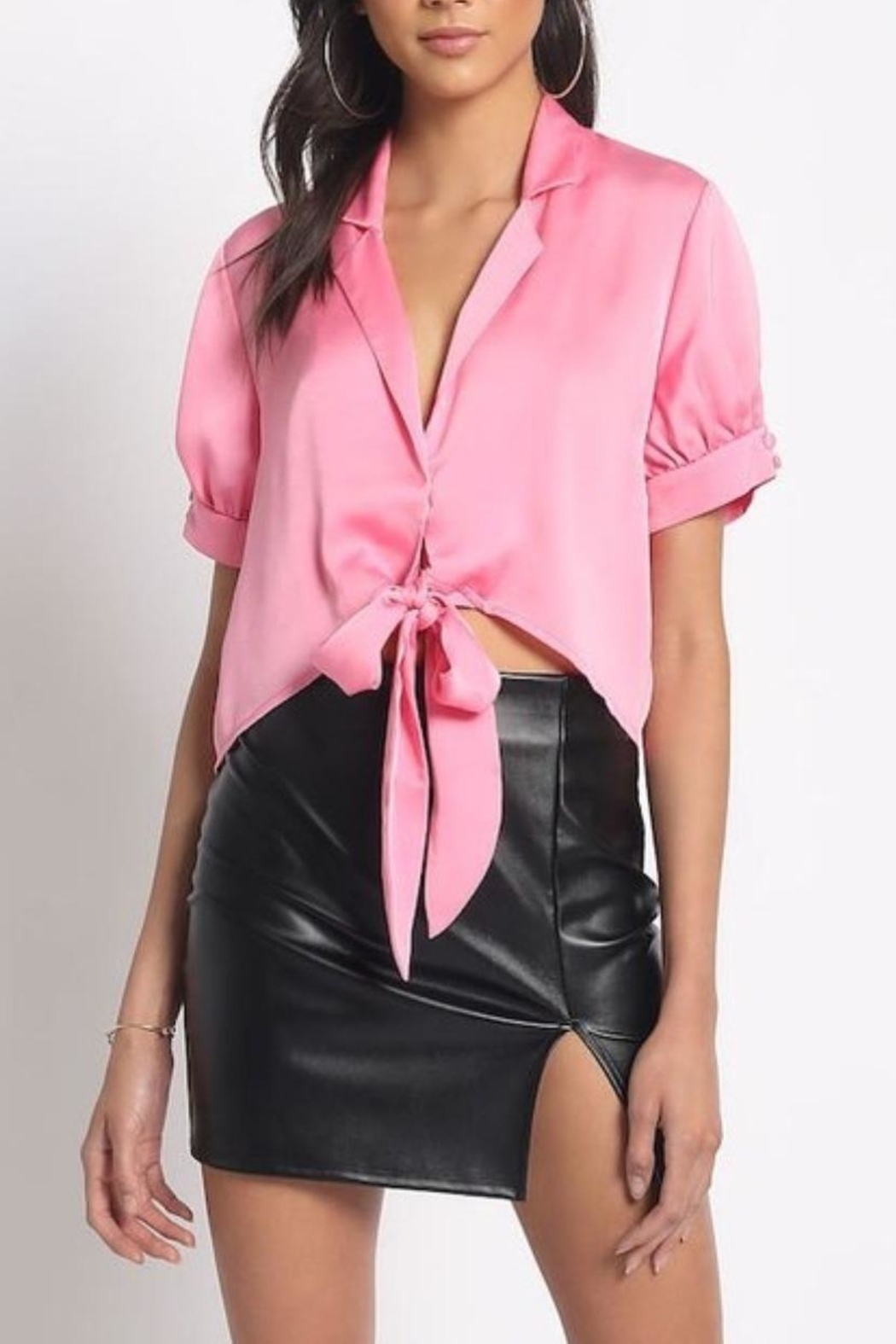81dceaba35 Sans Souci Pink Satin Blouse from Brooklyn by Glam Expressway ...