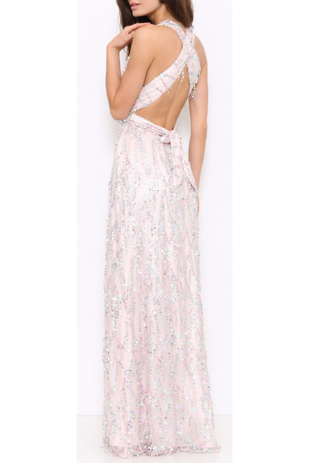L'atiste Pink Sequence Gown - Front Full Image