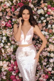 CLARISSE Pink Sequin Two Piece Gown - Product Mini Image