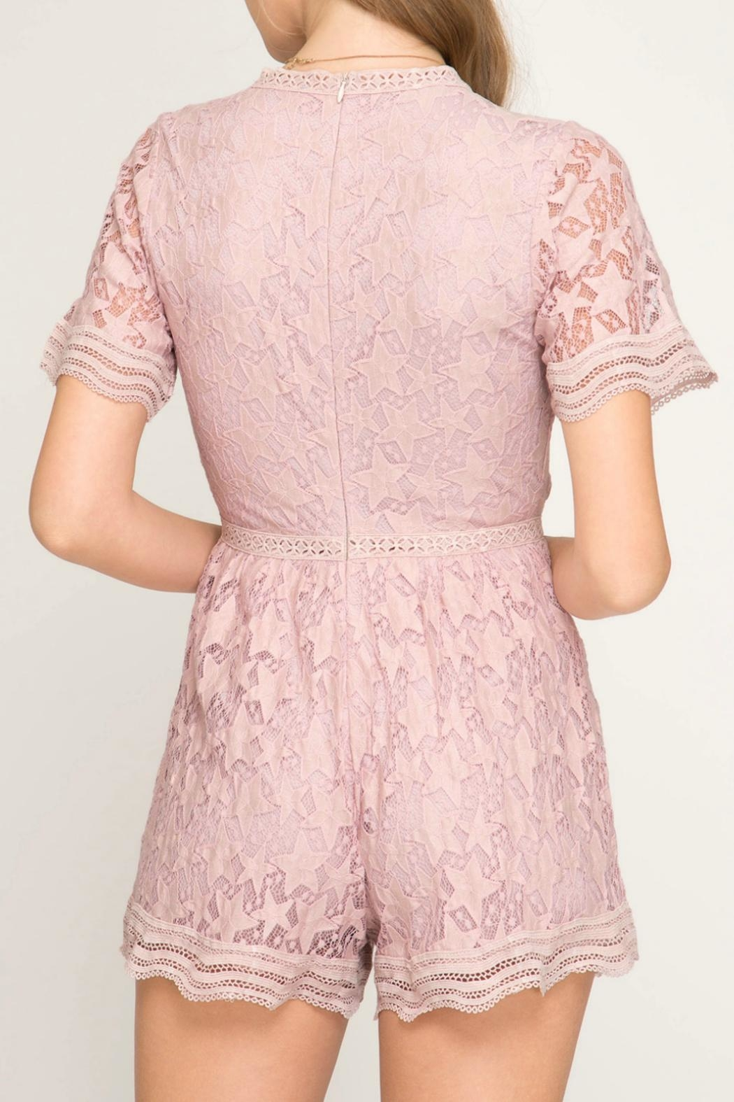 She + Sky Pink Star Romper - Side Cropped Image