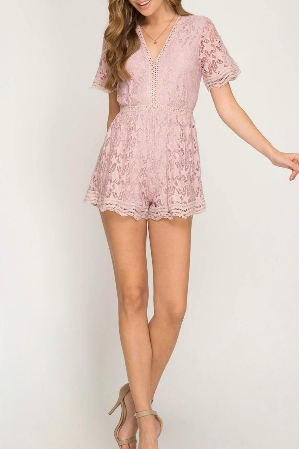 She + Sky Pink Star Romper - Back Cropped Image