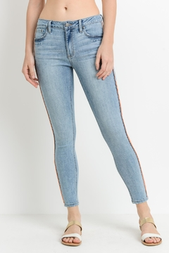 just black Pink Stripe Jeans - Product List Image