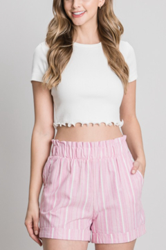 Must Have Pink Striped Linen Paper Bag Shorts - Product List Image