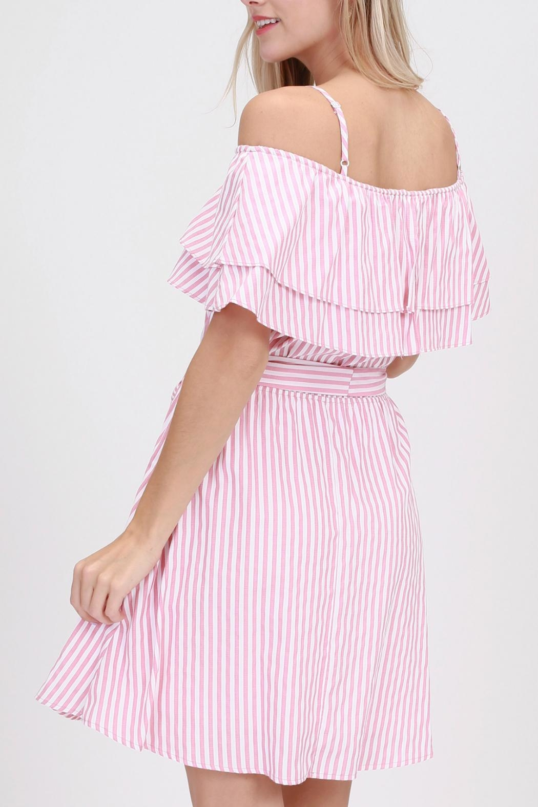 ALB Anchorage Pink-Striped Ruffle Dress - Side Cropped Image
