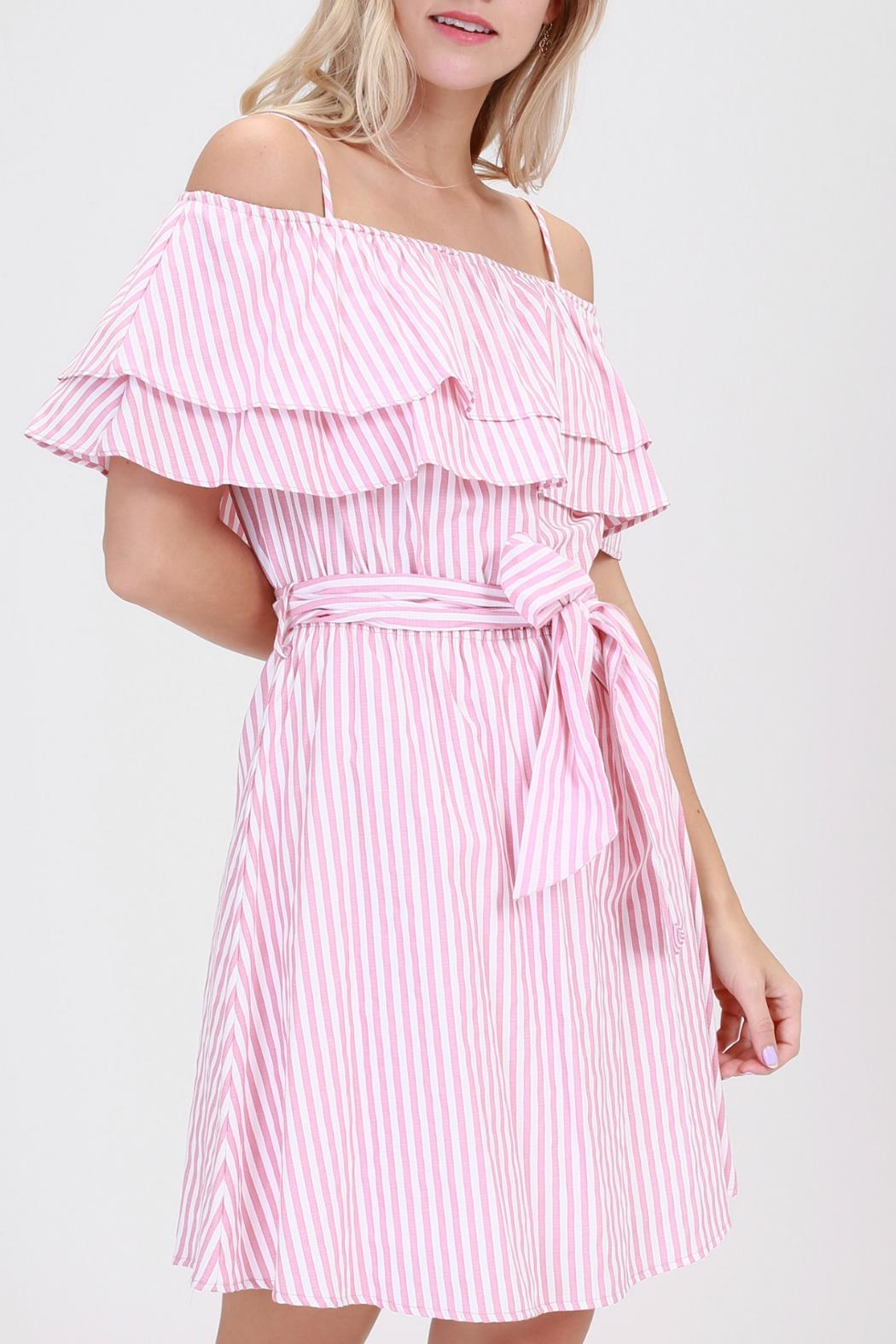 ALB Anchorage Pink-Striped Ruffle Dress - Front Full Image