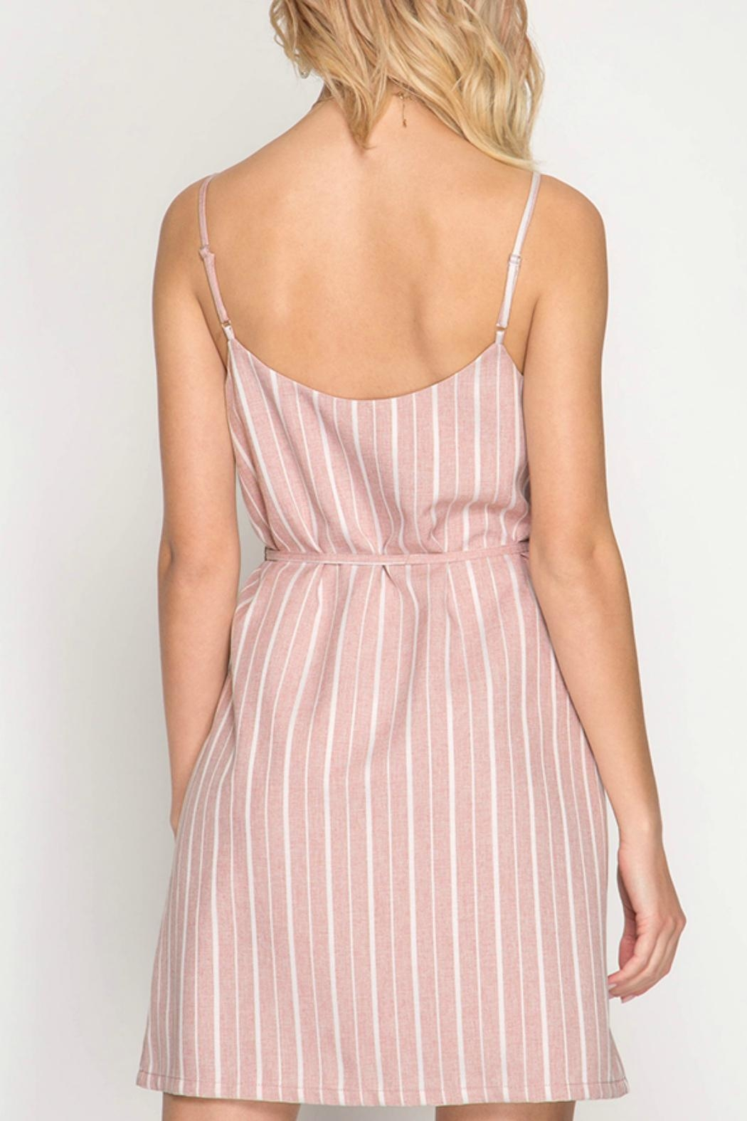 ALB Anchorage Pink Striped Shift-Dress - Front Full Image