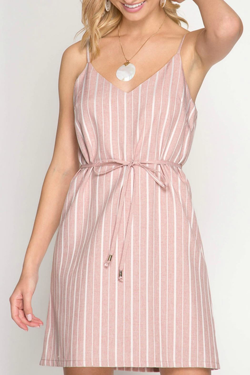 ALB Anchorage Pink Striped Shift-Dress - Main Image