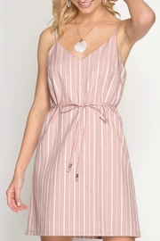 ALB Anchorage Pink Striped Shift-Dress - Front cropped