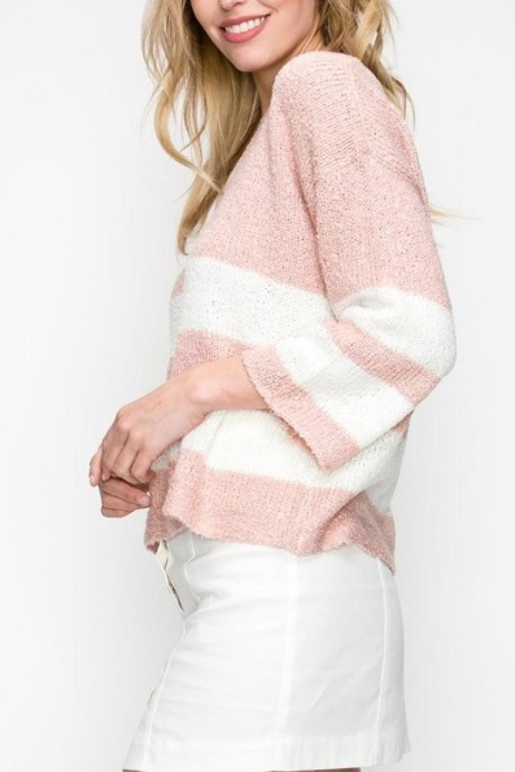 Favlux Pink Striped Sweater - Front Full Image