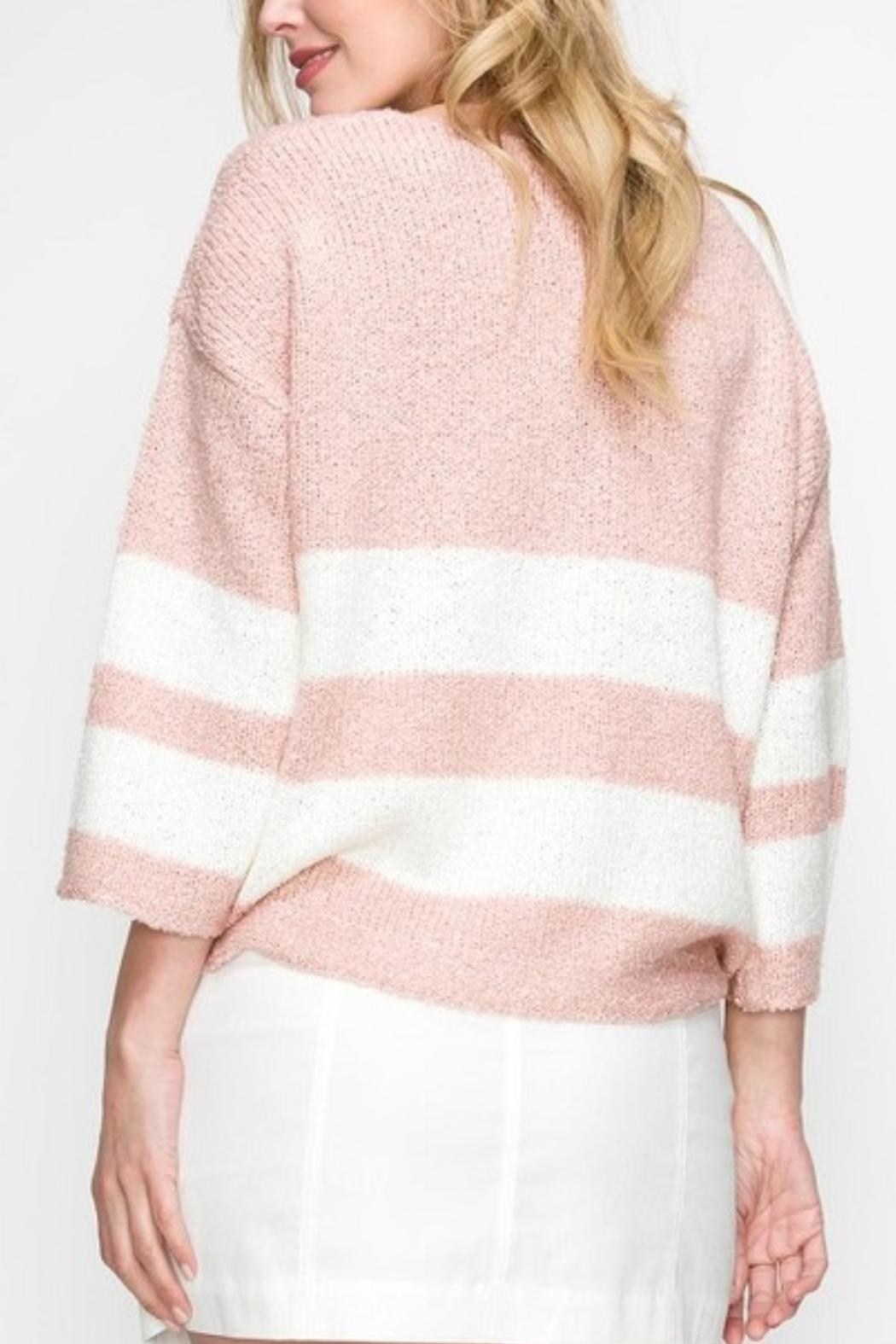 Favlux Pink Striped Sweater - Side Cropped Image