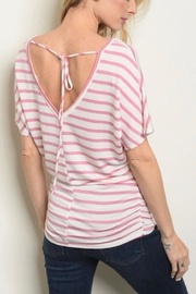 Watermelon Pink Striped Top - Front cropped