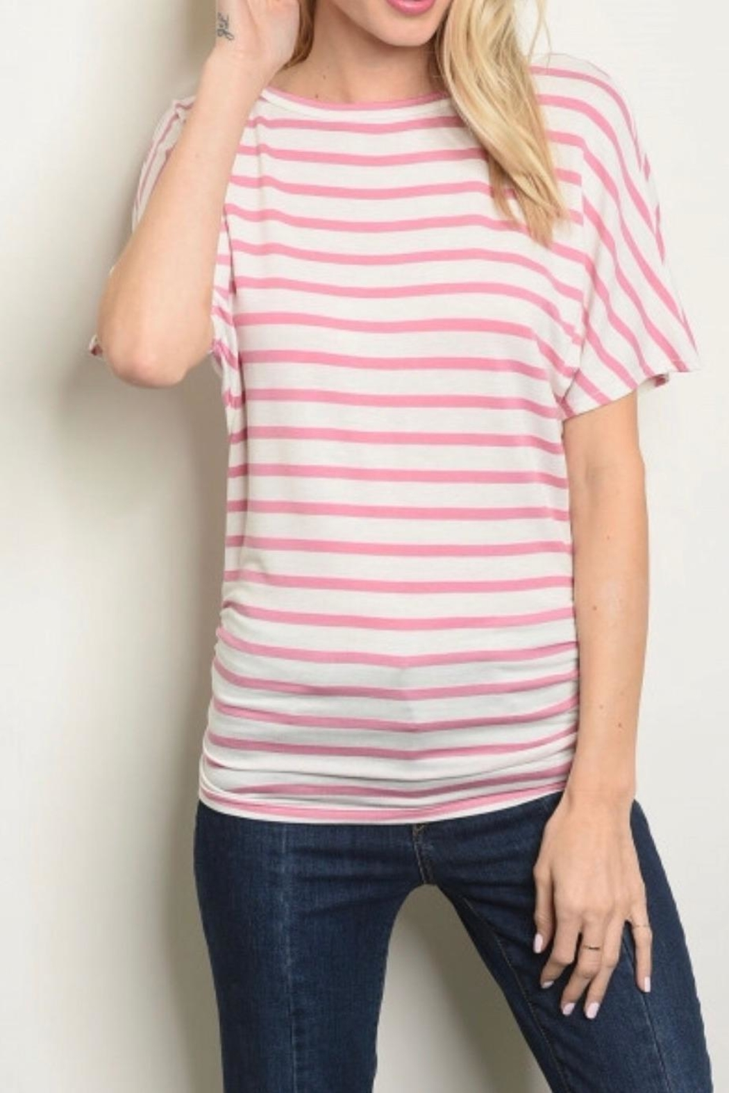 Watermelon Pink Striped Top - Front Full Image