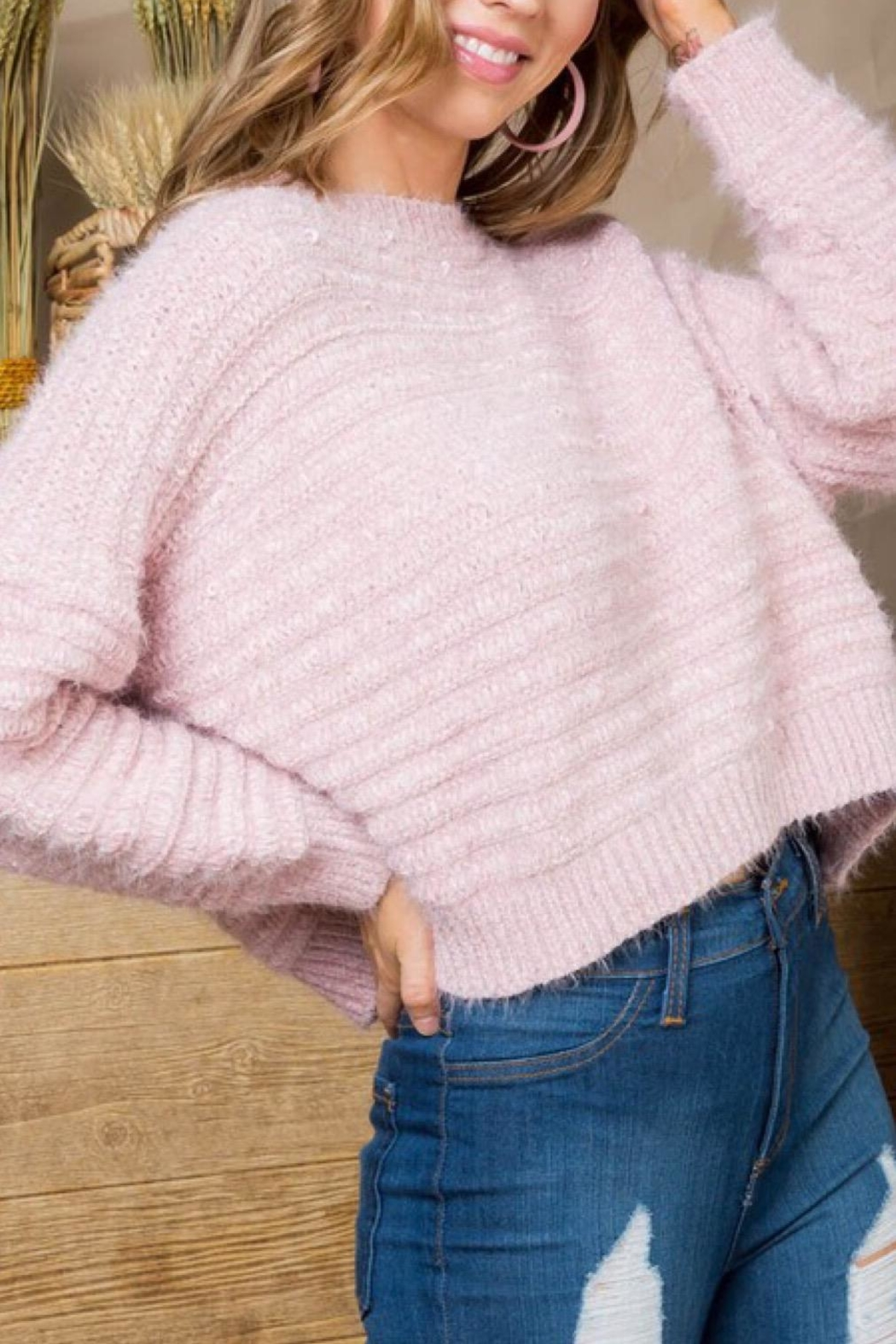 Main Strip Pink Sweater - Front Cropped Image