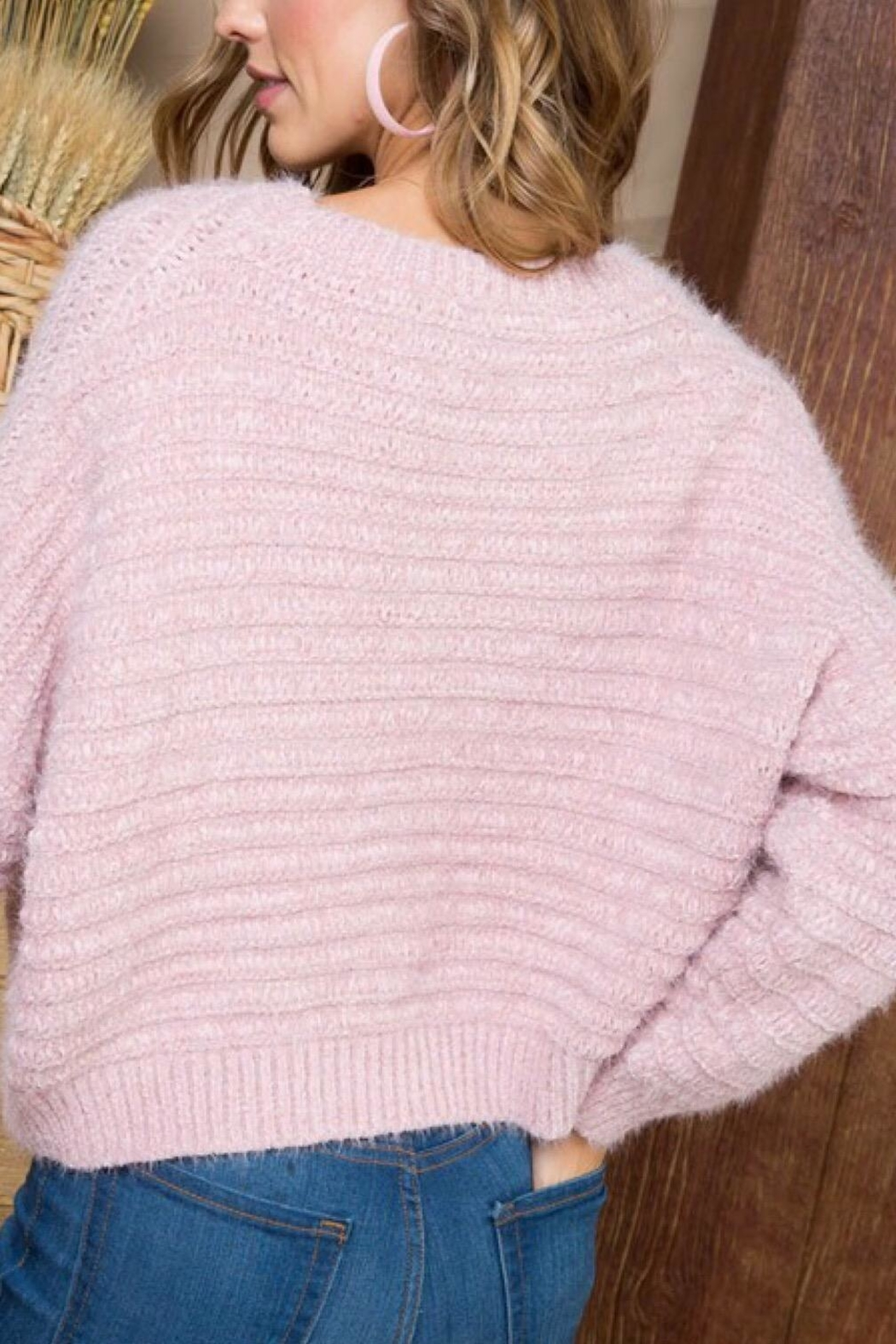 Main Strip Pink Sweater - Front Full Image