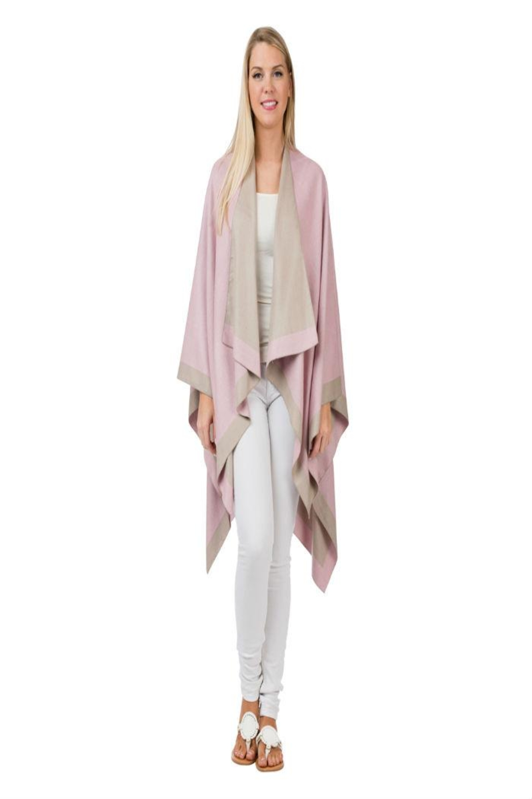 Top It Off Pink Taupe Poncho - Main Image