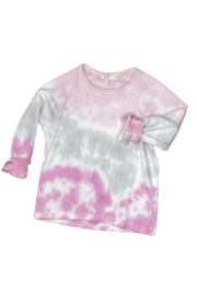 Cozii Pink Tie Dye Pullover Crew - Front cropped